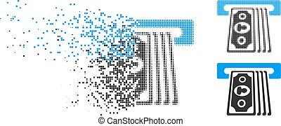 Damaged Pixelated Halftone Cashpoint Terminal Icon -...