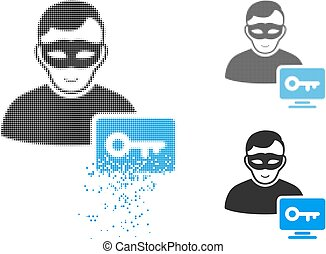 Damaged Pixelated Halftone Computer Hacker Icon with Face