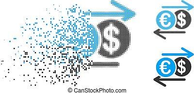 Damaged Pixelated Halftone Dollar Euro Exchange Icon