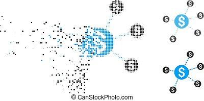 Damaged Pixelated Halftone Dollar Network Nodes Icon