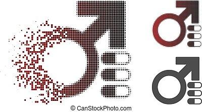 Damaged Pixelated Halftone Male Erection Pills Icon - Male...