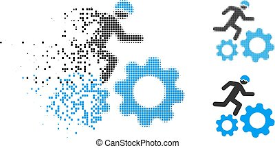 Damaged Pixelated Halftone Running Developer Over Gears Icon