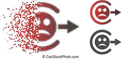 Damaged Pixelated Halftone Sad Logout Icon - Sad logout icon...