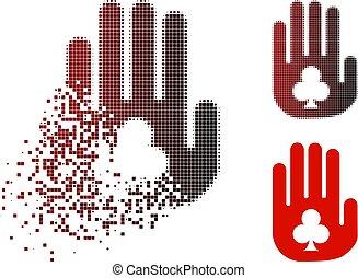 Damaged Pixelated Halftone Stop Gambling Hand Icon