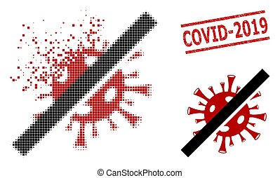 Damaged Pixelated No Coronavirus Icon and Grunge Covid-2019 Seal Stamp