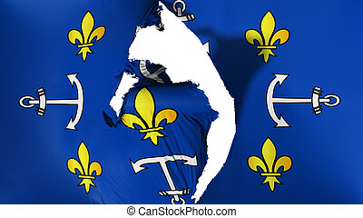 Damaged Port Louis city flag - Damaged Port Louis city, ...