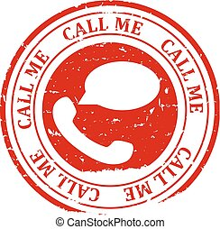 Damaged red round stamp with the words - call me, call now - vector