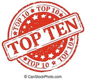 Damaged red stamp - top ten