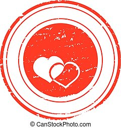 Damaged red stamp with the words - Valentine's Day - vectror