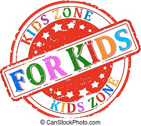 Damaged round colored stamped - for kids, kids zone - vector...