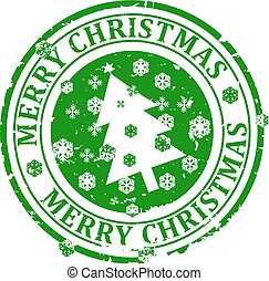 Damaged round green stamp with the words - Merry Christmas