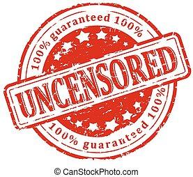 Damaged round red stamp - uncensore