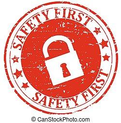 Damaged round red stamp with lock -