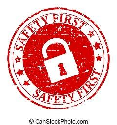 Damaged round red stamp with lock - safety first - Damaged...