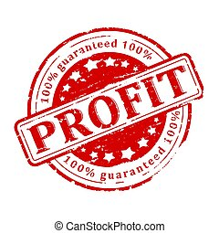 Damaged round red stamp with the word - profit guarantee