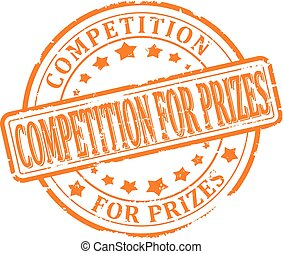 Damaged round red stamp with the word - competition for prizes- Vector