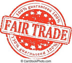 Damaged round red stamp with the word - fair trade - vector