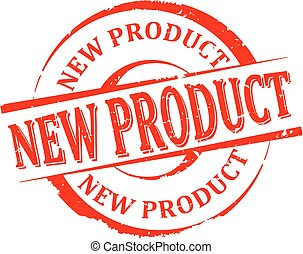 Damaged round red stamp with the word - new product - vector