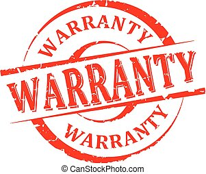 Damaged round red stamp with the word - warranty - vector