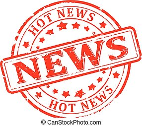 Damaged round red stamp with the words - news, hot news - vector