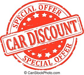 Damaged round seal with the inscription - car discount, special offer - illustration