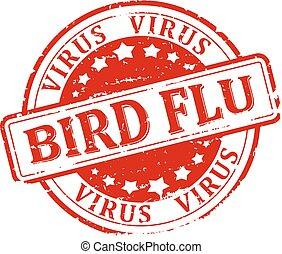 Damaged round seal with the inscription - bird flu - virus -...