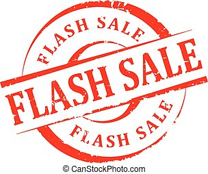 Damaged round seal with the inscription - Flash sale - vector
