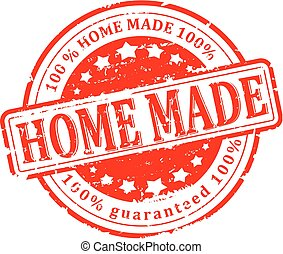 Damaged round seal with the inscription - home made - Vector