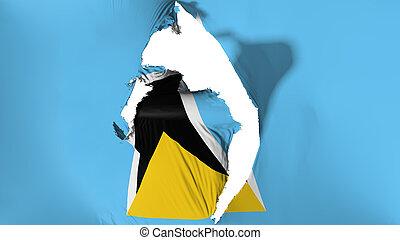 Damaged Saint Lucia flag, white background, 3d rendering