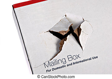 Damaged Shipping Box Isolated