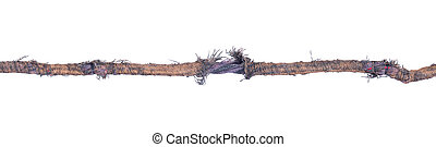Damaged telephone wire, old, isolated on white background