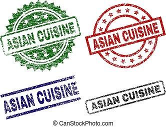 Damaged Textured ASIAN CUISINE Stamp Seals - ASIAN CUISINE...