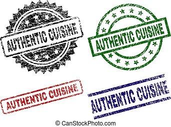Damaged Textured AUTHENTIC CUISINE Stamp Seals