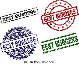 BEST BURGERS seal prints with corroded texture. Black, green, red, blue vector rubber prints of BEST BURGERS text with corroded style. Rubber seals with circle, rectangle, rosette shapes.