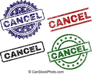 Damaged Textured CANCEL Stamp Seals