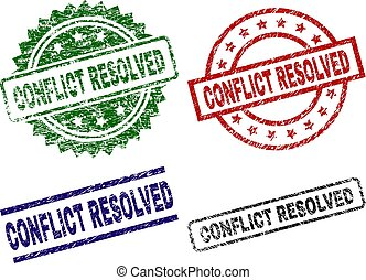 Damaged Textured CONFLICT RESOLVED Seal Stamps