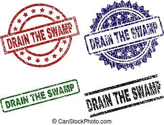 Damaged Textured DRAIN THE SWAMP Stamp Seals