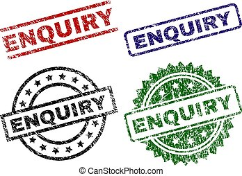 ENQUIRY seal prints with distress style. Black, green, red, blue vector rubber prints of ENQUIRY text with dust style. Rubber seals with round, rectangle, medal shapes.