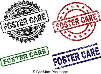 FOSTER CARE seal stamps with distress texture. Black, green, red, blue vector rubber prints of FOSTER CARE label with grunge texture. Rubber seals with circle, rectangle, rosette shapes.