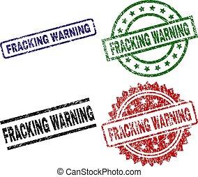 Damaged Textured FRACKING WARNING Seal Stamps - FRACKING...