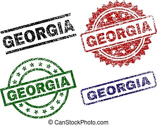 Damaged Textured GEORGIA Seal Stamps