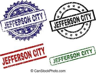 Damaged Textured JEFFERSON CITY Seal Stamps - JEFFERSON CITY...