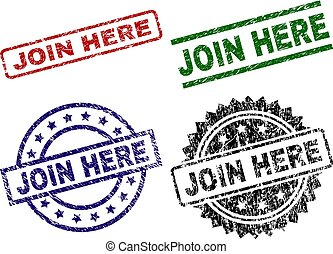 JOIN HERE seal prints with distress surface. Black, green, red, blue vector rubber prints of JOIN HERE caption with grunge surface. Rubber seals with circle, rectangle, medallion shapes.