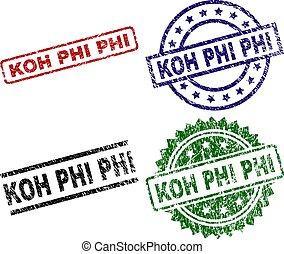 Damaged Textured KOH PHI Seal Stamps - KOH PHI seal prints...