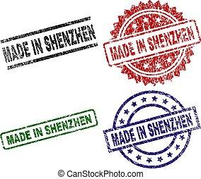 Damaged Textured MADE IN SHENZHEN Stamp Seals