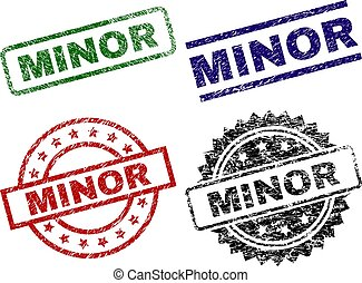 Damaged Textured MINOR Seal Stamps - MINOR seal prints with...