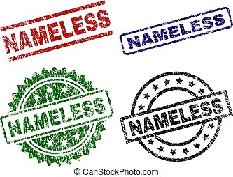 NAMELESS seal prints with distress style. Black, green, red, blue vector rubber prints of NAMELESS text with retro style. Rubber seals with circle, rectangle, medallion shapes.