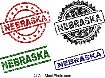 Damaged Textured NEBRASKA Seal Stamps