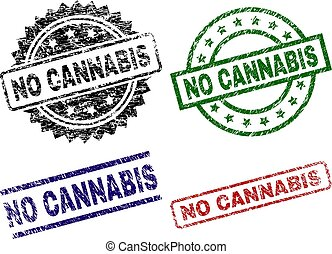 Damaged Textured NO CANNABIS Seal Stamps