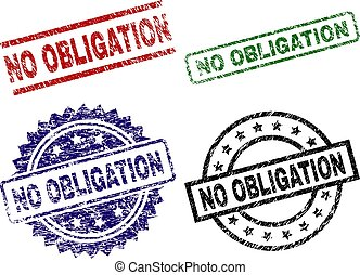 NO OBLIGATION seal prints with distress texture. Black, green, red, blue vector rubber prints of NO OBLIGATION label with scratched style. Rubber seals with circle, rectangle, rosette shapes.